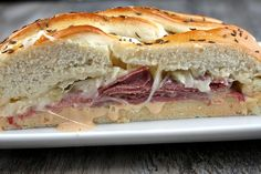 Recipe for Braided Reuben Bread- with 1,000 Island dressing, corned beef, Swiss cheese and sauerkraut. How-to photographs included.