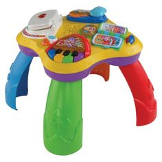 Cool electronic play toy; used it for a few months as a floor toy (without legs attached), then attached the legs when my baby was strong enough to stand on his knees. Great incentive for teaching my baby to get upright! $35-45 as of November 2013.