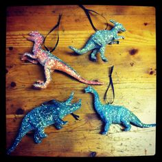 Glitter dinosaur Christmas decorations