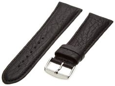 Hadley-Roma Men's MSM899RA-240 24-mm Black Shrunken Grain Leather WatchStrap ** See this great product.