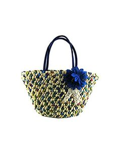 Sulida Women Colorful Flower Straw Beach Bag Shoulder Bag Woven Bag Handbags Blue *** Check out the image by visiting the link.