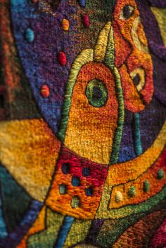 "Detail, Handwoven Peruvian Tapestry by Maximo Laura ""Song of the Heart"". 78 x 31 inches (200 x 80 cm) /// Email for price: info@maximolaura.com"