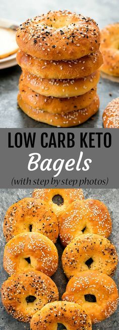 These bagels are just 5 ingredients and are wheat free, gl… Low Carb Keto Bagels. These bagels are just 5 ingredients and are wheat free, gluten free, low carb and keto. Step by step photos included in the post. Keto Bagels, Low Carb Bagels, Low Carb Bread, Keto Bread, Low Carb Diet, Bagels Nyc, Low Carb Bun, Gluten Free Bagels, Calorie Diet