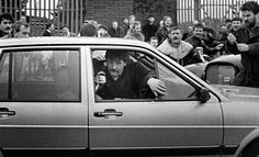 British army corporals David Howes and Derek Wood produce a gun after driving up to an I. funeral procession and coming under attack. They didn't drive back out. 19 March, 1988 in Belfast, Northern Ireland. Northern Ireland Troubles, Belfast Northern Ireland, Military Love, Army Love, British Soldier, British Army, Images Of Ireland, Michael Collins, War Photography
