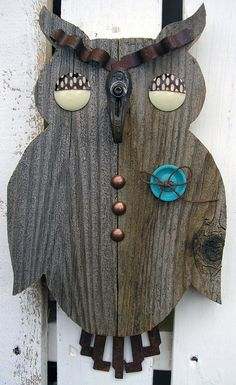 Retro Owl Wall Hanging  Vintage Button Eyes and by RusticSpoonful