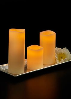 3 x 4in, 3 x 6in, and 3 x 8in Ivory Wax Pillar Candles
