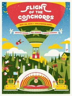 Flight of the Conchords Hollywood Bowl poster by DKNG on sale here . * See more of my favorite concert posters here . Bg Design, Print Design, Clever Design, Omg Posters, Flight Of The Conchords, Concert Posters, Music Posters, Band Posters, Polish Posters