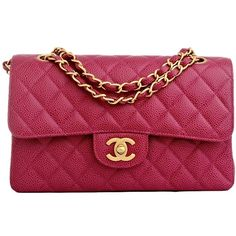 Chanel Vintage Hot Pink Fuchsia Quilted Caviar Classic 2.55 Double... ($3,950) ❤ liked on Polyvore featuring bags, handbags, chanel, purses, accessories, borse, vintage handbags, handbag purse, vintage hand bags and hot pink handbags