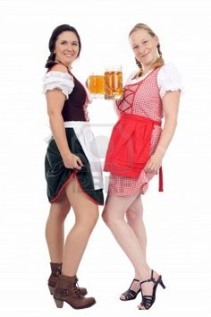 Two young pretty women in dirndl with beer mug Stock Photo