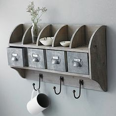 Reclaimed Wood Wall Unit With Steel Drawers - furniture