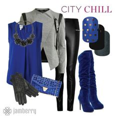 Navy and grey outfit for fall. Easy do-it-yourself nail art from Jamberry Nails. Icy Berry Polka, Darkest Black, and Tungsten Sparkle. Jamberry Nail Wraps, Jamberry Style, Jamberry Outfits, Love Blue, Blue Fashion, Nail Fashion, So Little Time, Signature Style, Style Me
