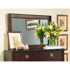 Attirant 54 Inch Angelo:HOME Marlowe Chocolate Mahogany Wood Mirror
