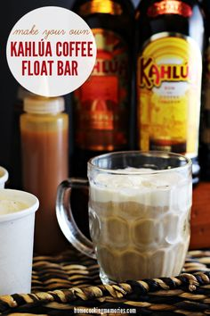 Kahlúa Coffee Float Bar - Home Cooking Memories. 1 part Kahlua, 3 parts coffee, and ice cream to liking Bar Drinks, Cocktail Drinks, Yummy Drinks, Coffee Drinks, Alcoholic Drinks, Beverages, Keurig Recipes, Smoothie Recipes, Smoothies