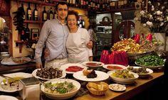 Owner Amaia Ortuzar, with her son Amaiur, at Ganbara pintxo restaurant in the old town Parte Vieja in San Sebastian
