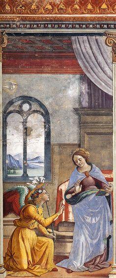 DOMENICO GHIRLANDAIO  - Annunciazione (1486-90)    Domenico Ghirlandaio  Annunciation (1486-90) fresco  Florence, Santa Maria Novella, Cappella Tornabuoni