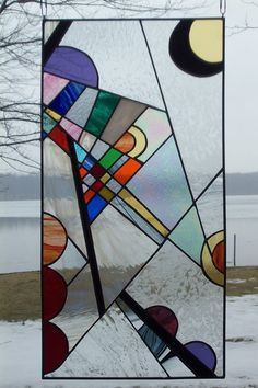 Kandinsky Inspired Abstract Stained Glass Panel