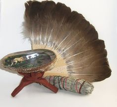 Clear some of that bad juju out before your relatives visit...or maybe AFTER! Depends on the relatives? Sage Smudge Kit Abalone Shell Stand Feather Fan by MysticMyrtle #HEPTeam