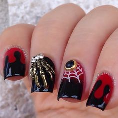 Red and black Halloween nail designs