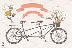 Tandem bicycle flowers wedding card - Illustrations - 2