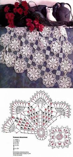 "diy_crafts- ""Scheme crochet no."", ""Motifs for napkin and tablecloth"" Crochet Square Patterns, Crochet Doily Patterns, Crochet Blocks, Crochet Diagram, Crochet Chart, Crochet Squares, Thread Crochet, Crochet Stitches, Crochet Table Runner"