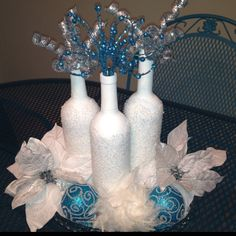Winter decor - love the wine bottles - would put 1 word on each with stickers maybe - let it snow