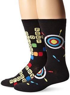 K. Bell Socks Men's 2 Pack Game Night Crew Socks, Black, 10-13/Shoe Size 6-12 K. Bell Socks http://www.amazon.com/dp/B00Z7S8XLI/ref=cm_sw_r_pi_dp_0ty8wb1P9DAS6