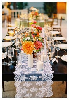 romantic lace wedding table runners