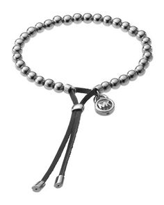 Michael Kors Bead Stretch Bracelet, Silver Color.