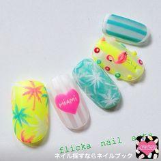 ネイル 画像 flicka nail arts  532653 ネオン ハート 夏 ソフトジェル ハンド Love Nails, Pretty Nails, Nail Art Designs, Design Art, Sea Nails, Nails First, Nail Candy, Nail Stamping, Mani Pedi