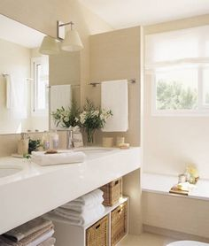 Beautiful neutral bathroom.