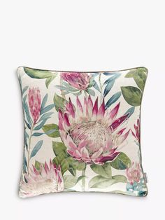 Sanderson King Protea Cushion, Rhodera at John Lewis & Partners Sanderson Fabric, King Protea, Protea Flower, Oak Beds, Shell Station, John Lewis Shops, Collection Services, Cushion Filling, Bedding Collections