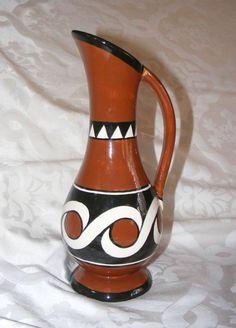 "Trypillian Pitcher, Ukrainian Ceramic Wolodymyr 1998 Pottery Oinochoe Vase 11"""