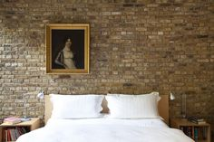 16 Beautiful Exposed Brick Wall Bedroom Ideas : Stunning Exposed Brick Wall Bedroom Design Inspiration with Multifunction Bedside Table and Silver Twin Desk Lamps Faux Brick Wall Panels, Brick Wall Paneling, Brick Accent Walls, White Brick Walls, Faux Panels, Bedroom Design Inspiration, Modern Bedroom Design, Interior Design Living Room, Brick Wall Bedroom