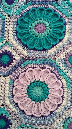 Ravelry: CindyEggleston's Purple Passion Flower Garden Afghan by shelby Crochet Square Patterns, Afghan Crochet Patterns, Crochet Squares, Crochet Motif, Crochet Designs, Crochet Yarn, Crochet Flowers, Crochet Stitches, Knitting Patterns