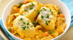 This is a new twist on chicken and dumplings that's not only easy but also cheesy!