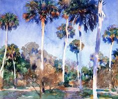 John Singer Sargent (American, Impressionism, 1856–1925): Palms, 1917. Watercolor, graphite on paper, 40 x 55.6 cm. Worcester Art Museum, Worcester, Massachusetts, USA.