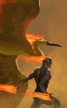 Brand, the Burning Vengeance and Moltres, the Flame Pokemon. (Pokemon / League of Legends Fanart by Chris Hohl on tumblr)