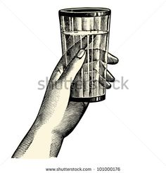 A hand holding a glass - vintage engraved illustration - French Newspaper - Paris 1910 - stock vector