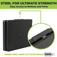 HIDEit wall mount for Slim, made from steel, allows easy access to ports. All You Need Is, Ps4 Wall Mount, Ps2 Slim, Playstation Consoles, Disk Drive, Wall Mounted Tv, Innovation Design, Xbox One, Sony