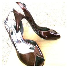 """Gianni Bini 3.5"""" heels Worn once to a formal evening event.  These are beautiful shoes, but I haven't worn them since, so they need a new home where someone will take them out. 🎼💃🏻🍷 Tried to capture color as best I can. Would describe as a glossy, deep bronze color. I wore with a bronze formal gown. Wasn't """"matchy-matchy"""", but nice darker in-family color. Gianni Bini Shoes Heels"""