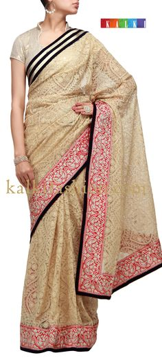 Buy it now http://www.kalkifashion.com/beige-saree-with-chikankari-embroidery-and-aari-work.html Beige saree with chikankari embroidery and aari work