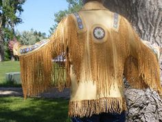 Buckskin Leather Jacket with Fringe, Beading and Antler Buttons