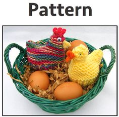 PATTERN: Knitted chicken and duck Easter Cozies. Hen by fabriq