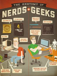 My husband is a combination of these two. Dresses more like the nerd, finally changed his 3rd grade haircut a couple of years ago, die hard trekie, likes star wars, coffee can build and fix really cool things. I love my geeky nerd. :)