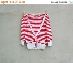 Vintage cardigan sweater sportswear white and red stripes sailor navy marine cardigan - vintage school casual cardigan sweater - Size S
