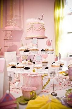 princess party love the use of different heights adds depth to your tables