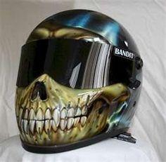 really cool air brushed skeleton helmet...