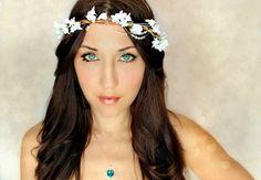 Whimsical Wedding Flower Crown Fairy Flower White Tiara by deLoop