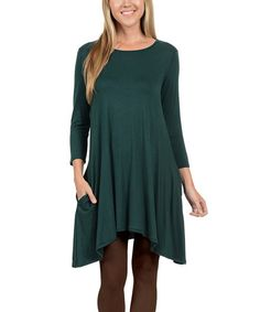 Another great find on #zulily! Hunter Green Solid Pocket Three-Quarter Sleeve Dress - Plus #zulilyfinds