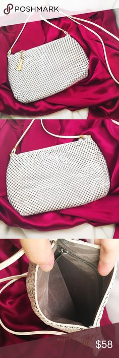 "VINTAGE Whiting & Davis Mesh Party Purse Classic. Authentic. Beautiful near mint condition. Bright white metal mesh crossbody. Small zippered compartment within. Measures approx 8.5"" x 5.5"" with a 21.5"" drop. Vintage Bags Crossbody Bags"
